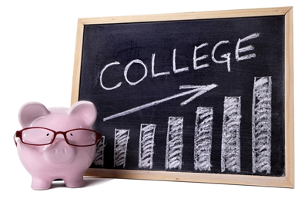 piggy bank and college board